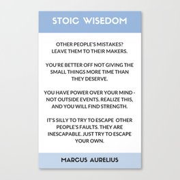 STOIC PHILOSOPHY WISDOM - MARCUS AURELIUS  QUOTES Canvas Print