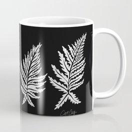 Inked Ferns – White Ink on Black Coffee Mug