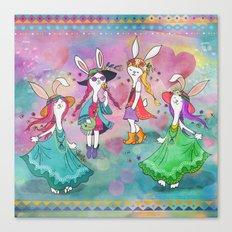 Bohemian Summer Bunnies Canvas Print