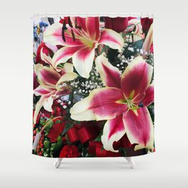 Vibrant Pink Magenta Red Luxurious Star Lilies Shower Curtain