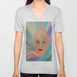 Bald is Beauty with Green Eyes Unisex V-Neck