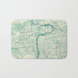 Prague Map Blue Vintage Bath Mat