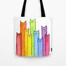 Nursery-Art-Print-Cat-Rainbow-Whimsical-Animals Tote Bag