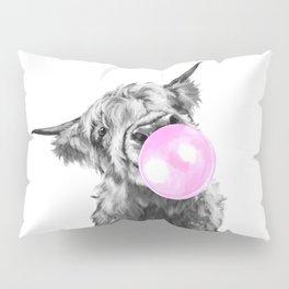 Bubble Gum Highland Cow Black and White Pillow Sham