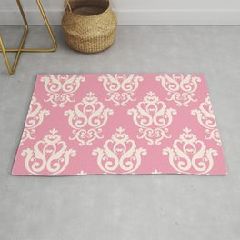 Romantic Pink and White Damask Pattern Rug