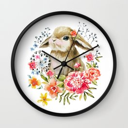Little bunny watercolor illustration Wall Clock