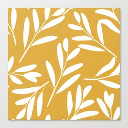 Floral Botanical Leaves Pattern, White on Yelllow Canvas Print