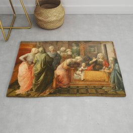 """Fra Filippo Lippi """"Miracle of the Bees of the Infant St. Ambrose"""" Rug"""