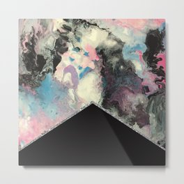 Marbled Solid Silver Metal Print