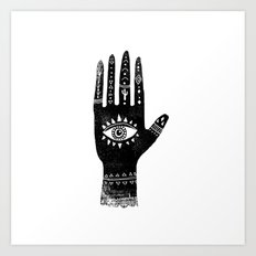 Hand with eye linocut black and white minimal boho third eye hamsa Art Print