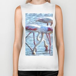 Flamingos Eating Watercolor Biker Tank
