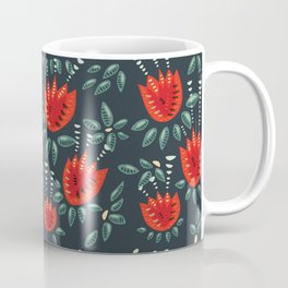 Abstract Red Tulip Floral Pattern Coffee Mug