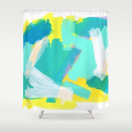 Be Kind, Be OK - mint modern mint abstract painting pastel colors Shower Curtain