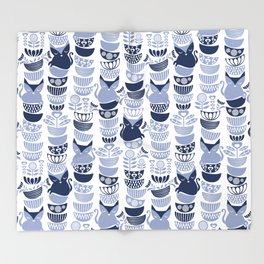 Swedish folk cats III // white background pale and navy blue kitties & bowls Throw Blanket
