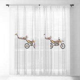 Motocross Stunt Jump Sheer Curtain