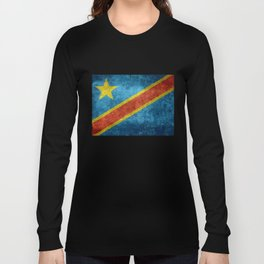 National flag of the Democratic Republic of the Congo, Vintage version (to scale) Long Sleeve T-shirt