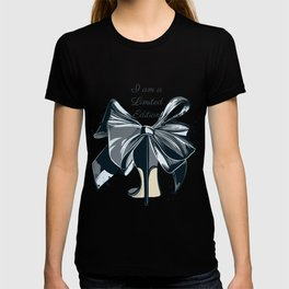 Fashion illustration with high heel shoe and bow. I am limited edition T-shirt