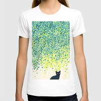 garden T-shirts featuring Cat in the garden under willow tree by Picomodi