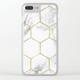 Gold marble hexagon pattern Clear iPhone Case