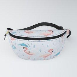 Rainy Flamingos Fanny Pack