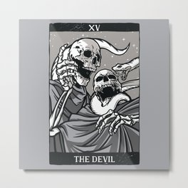 Skeleton Tarot Devil Metal Print
