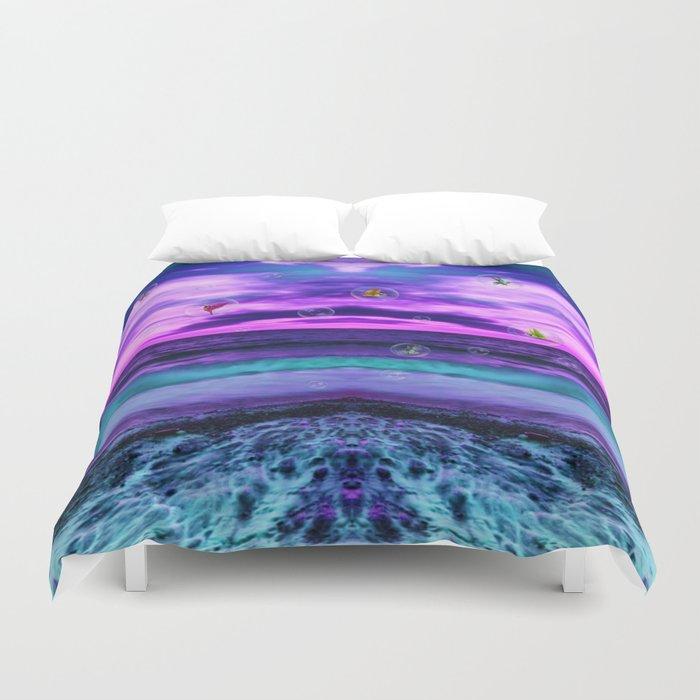 Ultra violet Birds in  bubbles Duvet Cover