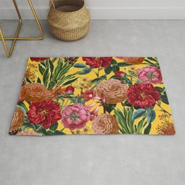 Yellow and Pink Floral Pattern Rug