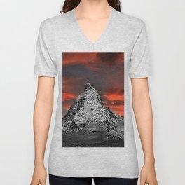 Matterhorn of Zermatt, Switzerland at sunset Unisex V-Neck