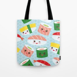 pattern Kawaii funny sushi rolls set with pink cheeks and big eyes, emoji Tote Bag