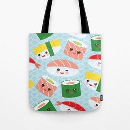 pattern Kawaii funny sushi rolls set with pink cheeks and big eyes, emoji Tote Bag