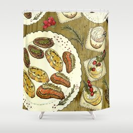 Holiday Hors D'oeuvre Shower Curtain