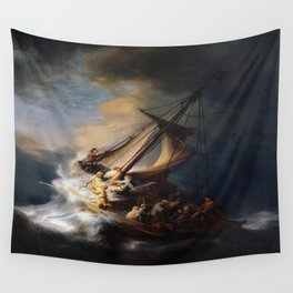 Rembrandt's The Storm on the Sea of Galilee Wall Tapestry
