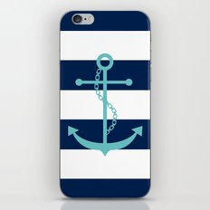 Aqua Anchor Shape on Wide Stripes Pattern iPhone & iPod Skin