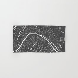 Paris France Minimal Street Map - Grey on White Hand & Bath Towel