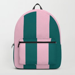 Classic Cabana Stripes in Conch Pink + Dark Teal Green Backpack