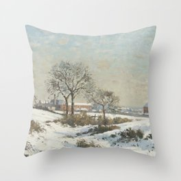 Snowy Landscape at South Norwood by Camille Pissarro Throw Pillow