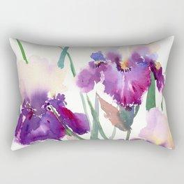 Irises, purple floral art, garden iris Rectangular Pillow