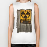 fallout Biker Tanks featuring Fallout Shelter by Julie Maxwell