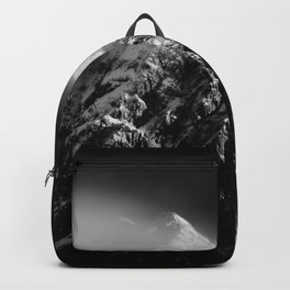 Black and white long exposure of clouds above mountain Backpack