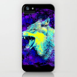wild angry lone wolf, grunge blue, yellow, purple spray paint design iPhone Case