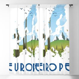 Europe Map Blackout Curtain
