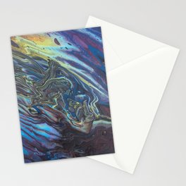 Oil Slick Flow - Acrylic Pour Original Painting Art Stationery Cards