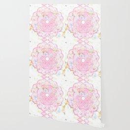 Pastel pink mandala ornament design Wallpaper