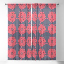 Japanese Samurai flower red pattern Sheer Curtain