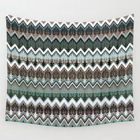 ikat Wall Tapestries featuring winter ikat  by Ariadne