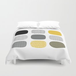 Abstract in mustard and grey Duvet Cover