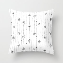 Delicate Flowers Doodle Pattern Throw Pillow