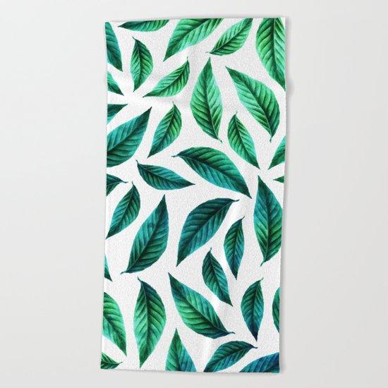 Tropical Foliage Pattern #society6 #decor #buyart Beach Towel