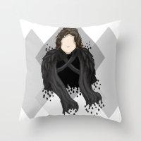 jon snow Throw Pillows featuring Jon Snow by itsamoose