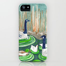 Water Friends drawing by Amanda Laurel Atkins iPhone Case